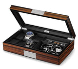 Luxury Wooden 6 Slots Watches & Jewelry Box - Shade & watches