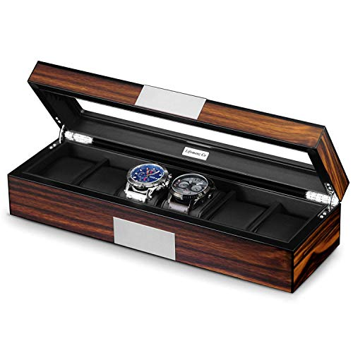 6-Slots Wood Luxury Box with Shorte Glass - Shade & watches