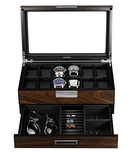 Luxury Wooden 12 Slot Watches/Valet/Jewelry Box - Shade & watches