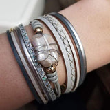 Women Leather Cuff Baroque Pearl Wrap Bracelets