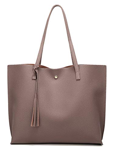 Women Soft Faux Leather Tote Shoulder Bag - Shade & watches