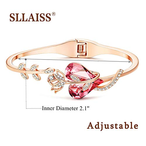 Gold Plated Pink Crystal Cuff Bangle Bracelets
