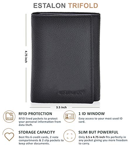 Genuine Leather Front Pocket Trifold Wallet