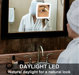 Stylish Daylight 10X Magnifying Lighted Makeup Mirror - Shade & watches