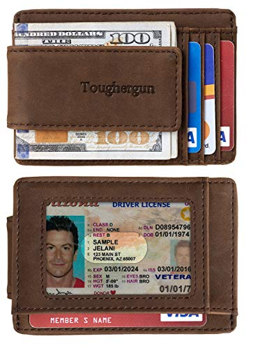 Genuine Leather Magnetic Money Clip Wallet RFID Blocking- Gift - Shade & watches