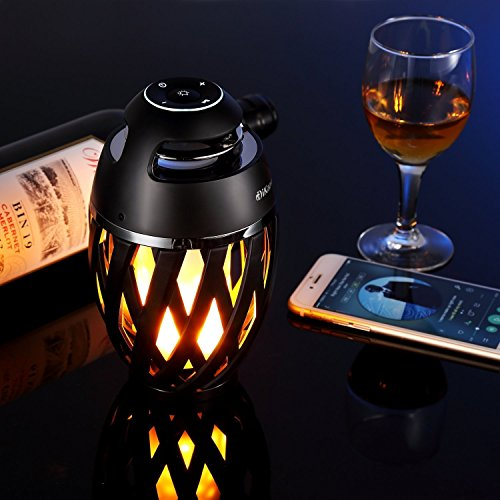 LED portable audio flame table lamp