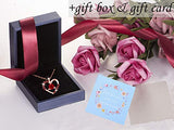 Heart Red Gold 3D Flower Love Necklace