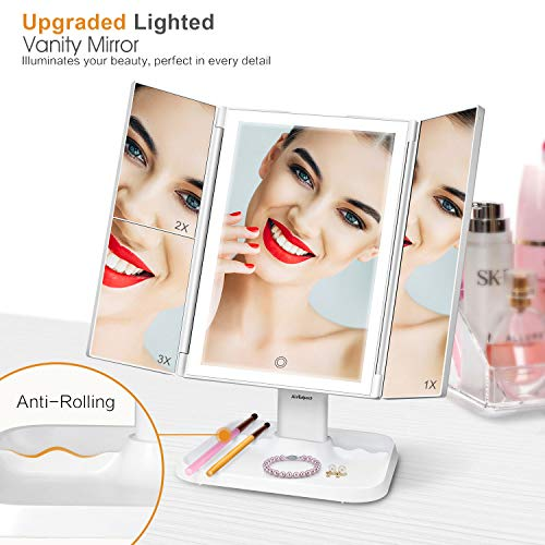 3 Color Lighting Modes 72 LED Trifold Makeup Mirror - Shade & watches