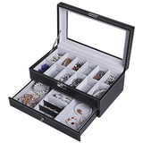 12- Slot Men's Watches & Jewelry Display Lock case - Shade & watches