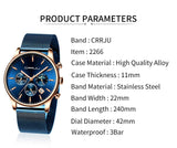 CRRJU Men's Blue Date Chronograph Stainless Watches - Shade & watches