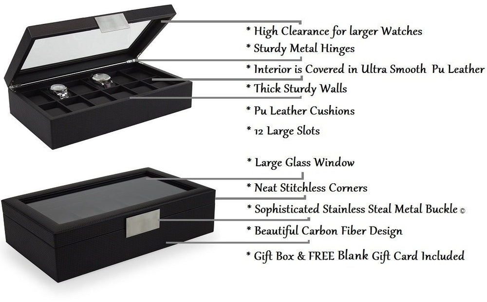 Luxury Men's 12 slot Watch Box
