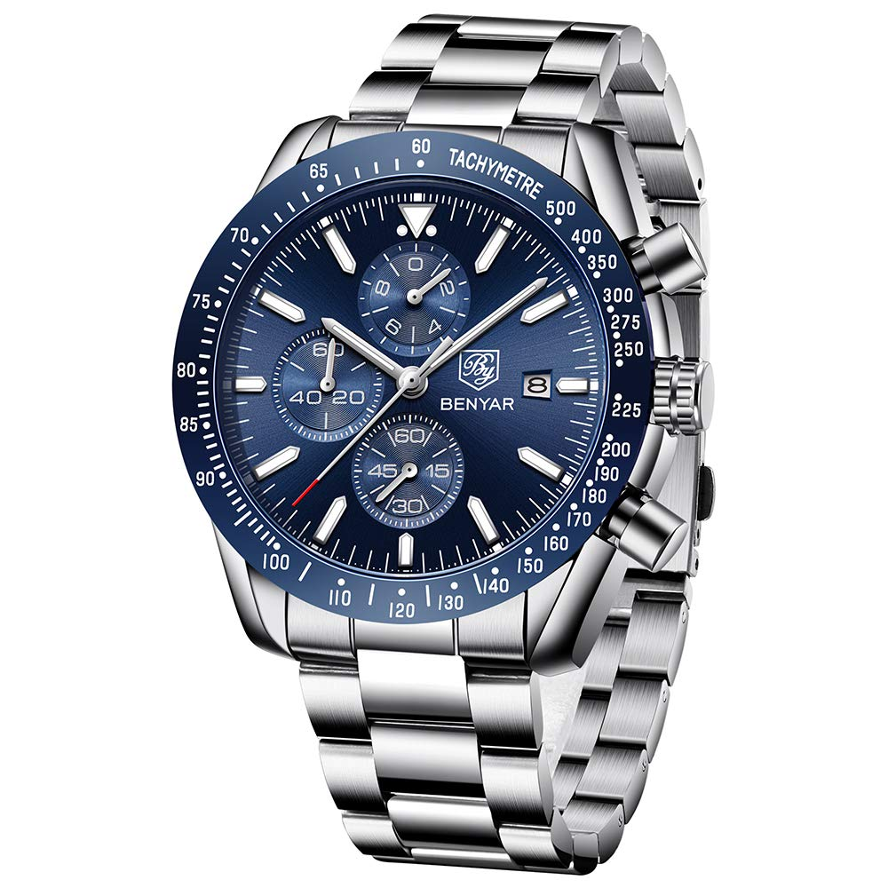 Men's Stainless Steel Chronograph Business Watches