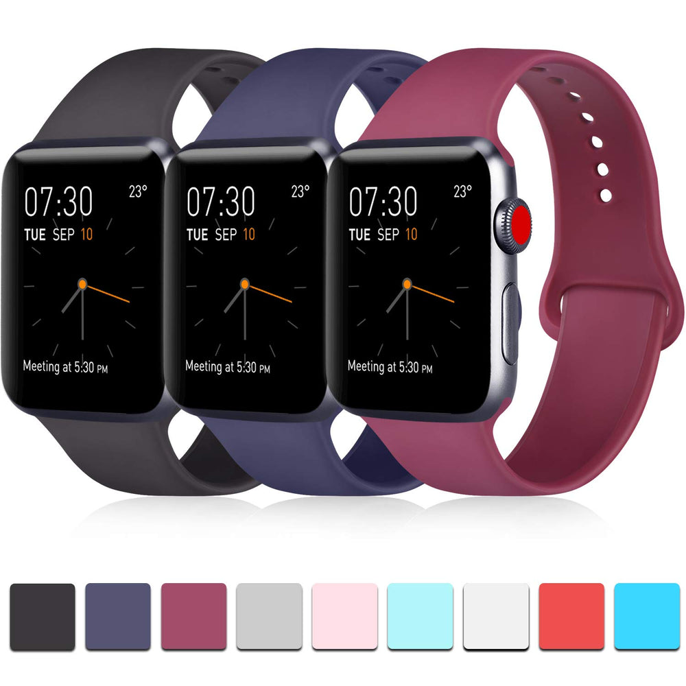 3-Pack Apple Watch for Men, Soft Silicone Bands for iWatch - Shade & watches
