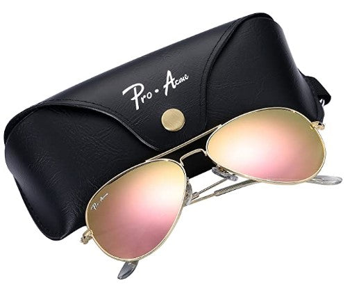 Aviator Crystal Lens Large Metal Sunglasses