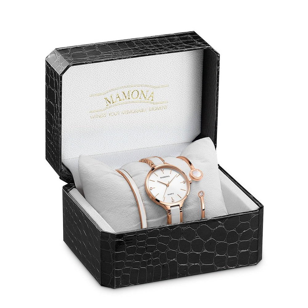 MAMONA Women Watch & Crystal Stainless Steel Set - Shade & watches