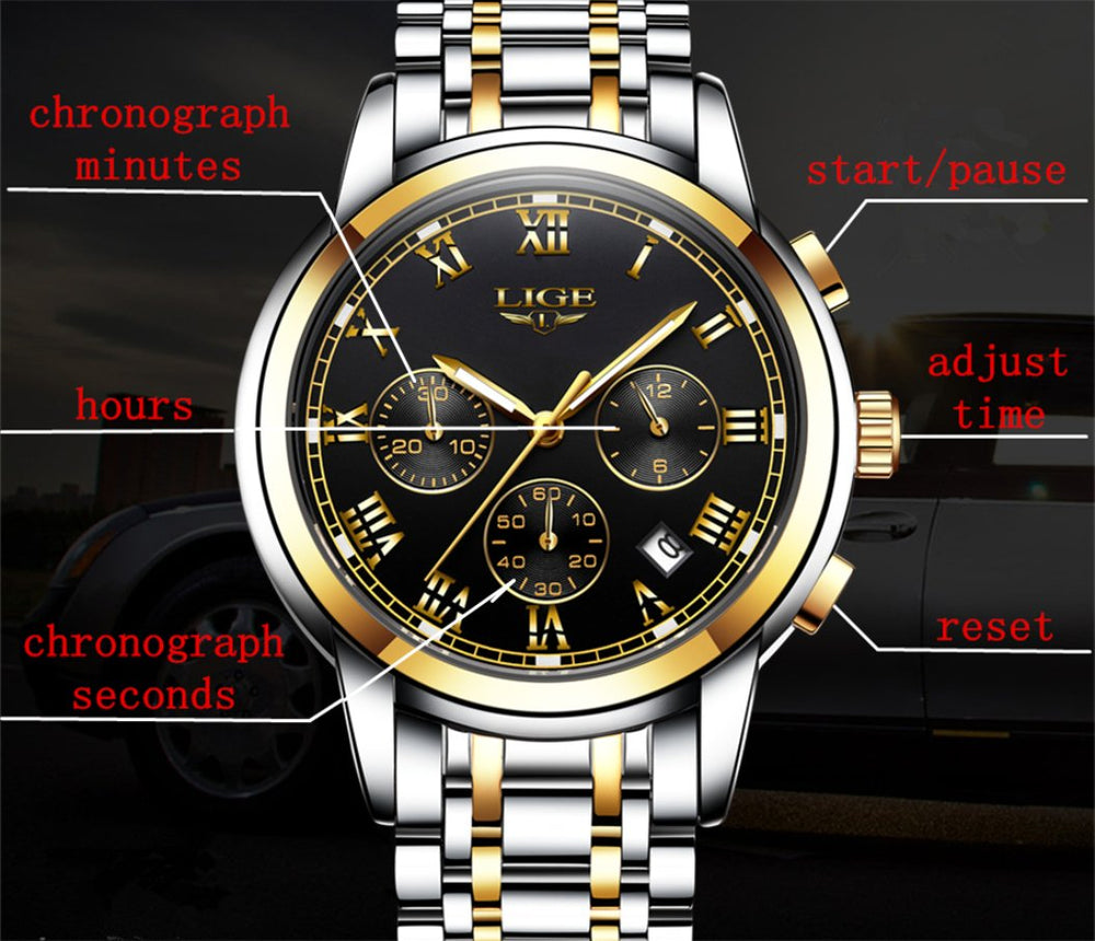 Lige -Men's Stainless Steel Strap Watch - Shade & watches