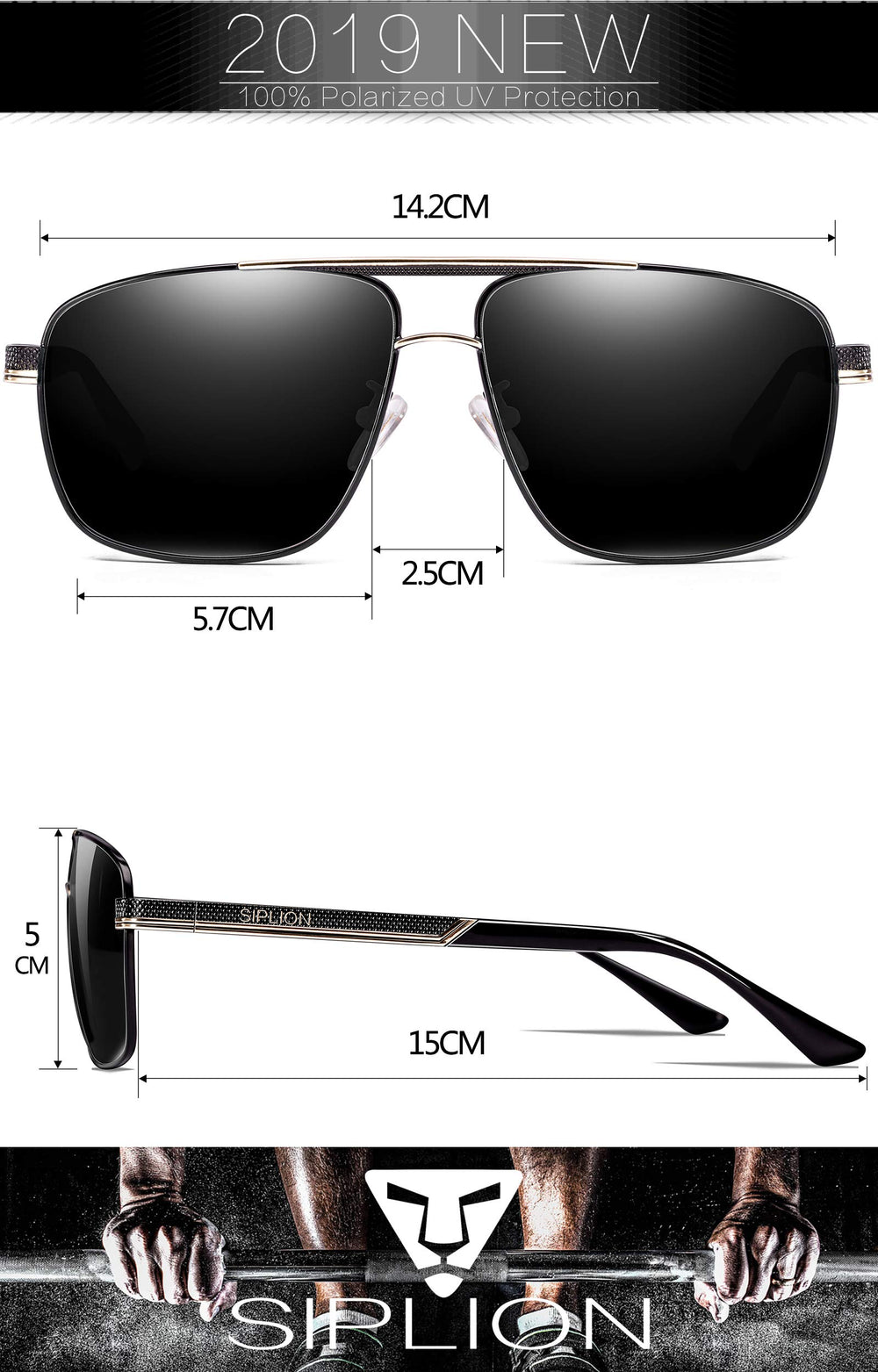 SIPLION Stylish Men's Driving Polarized Sunglasses - Shade & watches