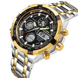 Men's Heavy Steel Analog Digital Business Watch