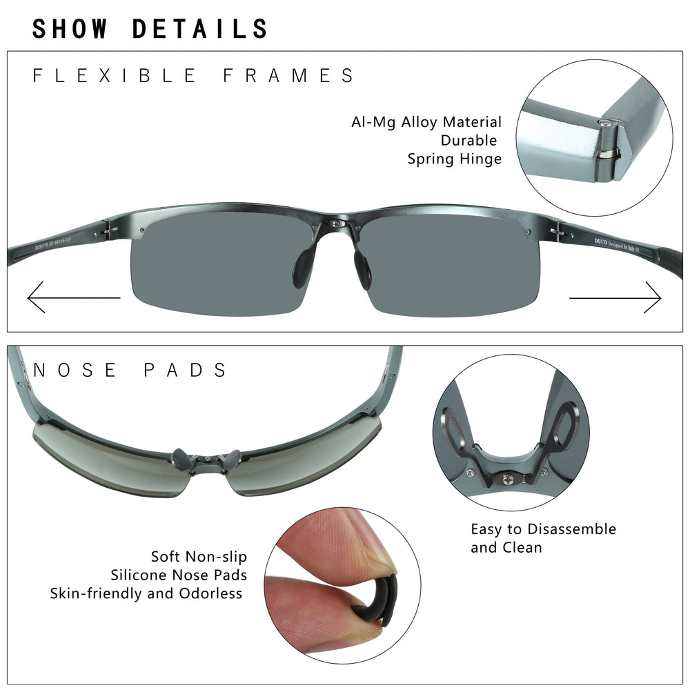 DUCO -Men's Sports Polarized Sunglasses - Shade & watches
