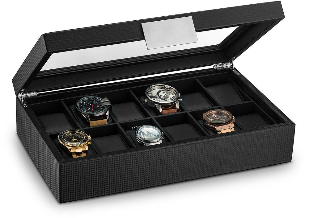 Luxury Black Men's 12-slot Watch Box - Shade & watches