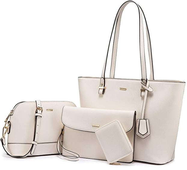 Women Shoulder Bags Tote Satchel Hobo 3pcs Purse Set - Shade & watches