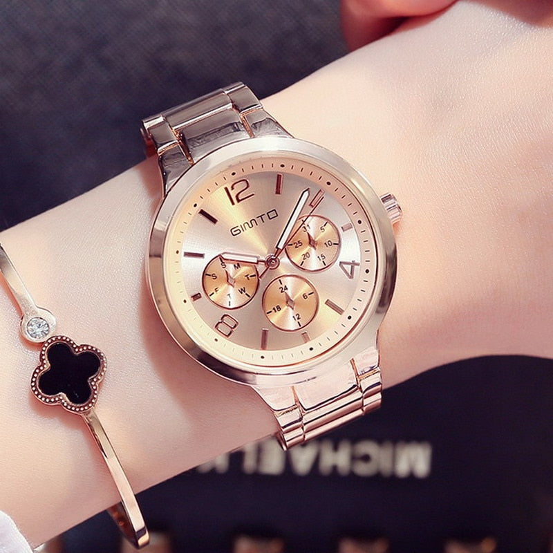 Stainless Steel Luxury Rose Gold watches for Women - Shade & watches