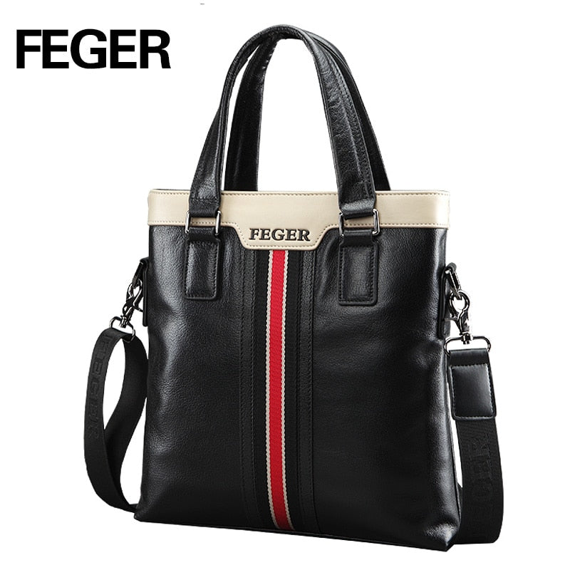 FEGER Business Genuine Leather Men's Handbags - Shade & watches