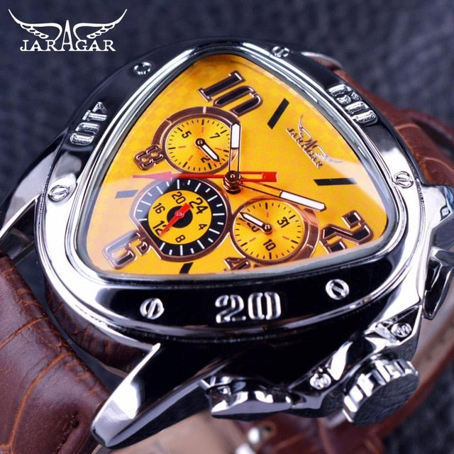 Men's Sport Racing Genuine Leather Strap Watches