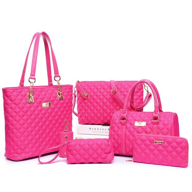 6Pc/Set Women Fashion Diamond Lattice Handbag - Shade & watches