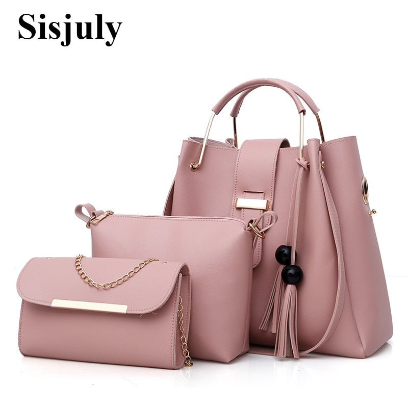 3Pcs/Sets Women Handbags Leather Shoulder - Shade & watches