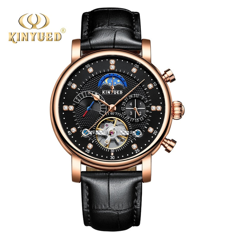 Men's Black Gold Calendar Mechanical Watches