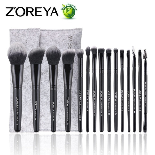 High Quality ZOREYA 15pcs Makeup Brushes - Shade & watches