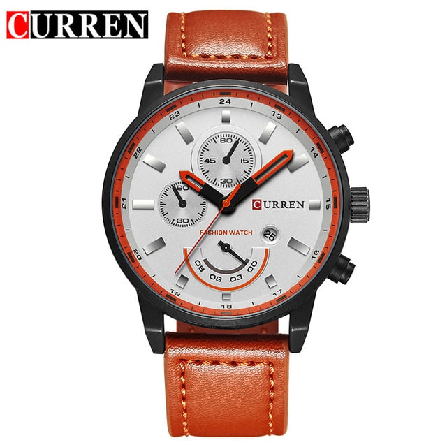 Men's Stylish Leather Sport Clock Watches - Shade & watches