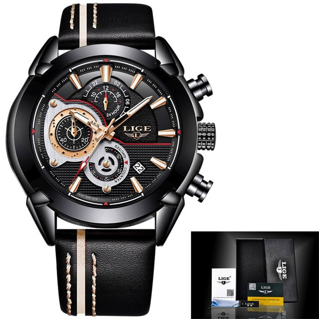 Leather Military Waterproof Men's Sport Watches