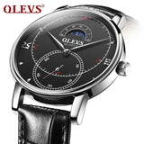Ultra thin Automatic Date Luxury Leather Men's Watches