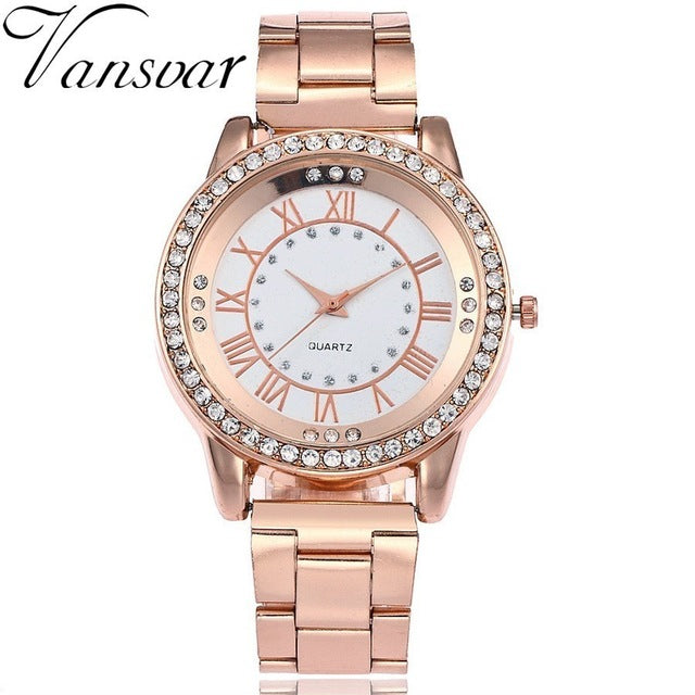 New Fashion Women Dress Rhinestone Quartz Watches - Shade & watches
