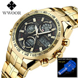 Top Brand Luxury Men's Watches Golden Stainless Steel