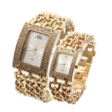2Pcs Gold Women Wrist watches Quartz Luxury