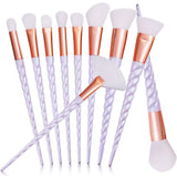 Newly 10PCS White Handle Makeup Brushes