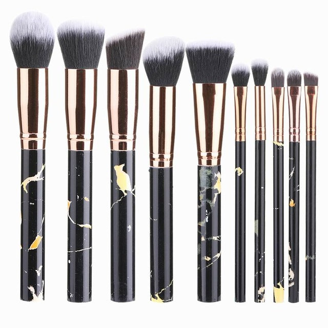 High Quality 10pcs Marble Makeup Brushes Sets - Shade & watches