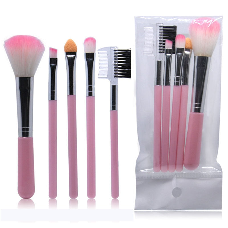 5pcs Full Professional Women's Makeup Brushes - Shade & watches