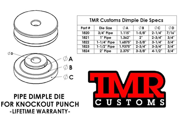 5 Piece Pipe Dimple Die Set for Knockout Punches