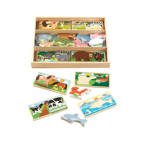 Melissa & Doug Wooden Animal Picture Puzzle Boards With Chunky Wooden Animal Play Pieces (24 pcs)
