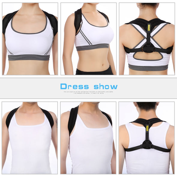 LAFGUR Adjustable Posture Corrector Brace Straps Pain Relief for Clavicle and Upper Back Neck Shoulder Men & Women for Everyday Use in Office, Home and Gym