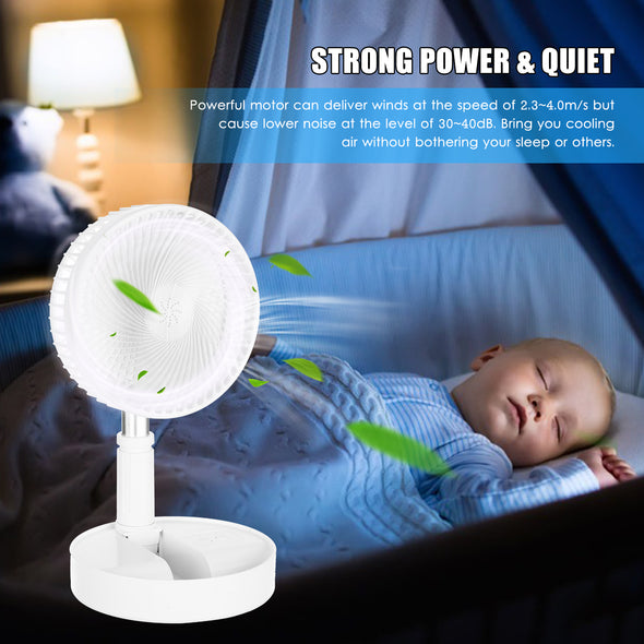 USB Powered Osillating Fan Portable Electric Fan 180° Rotatable Head Quiet Desk Fan with 4-Speed 34-Inch Extendable stand Built-in 7200mAh Rechargeable Battery for Bedroom Home Office