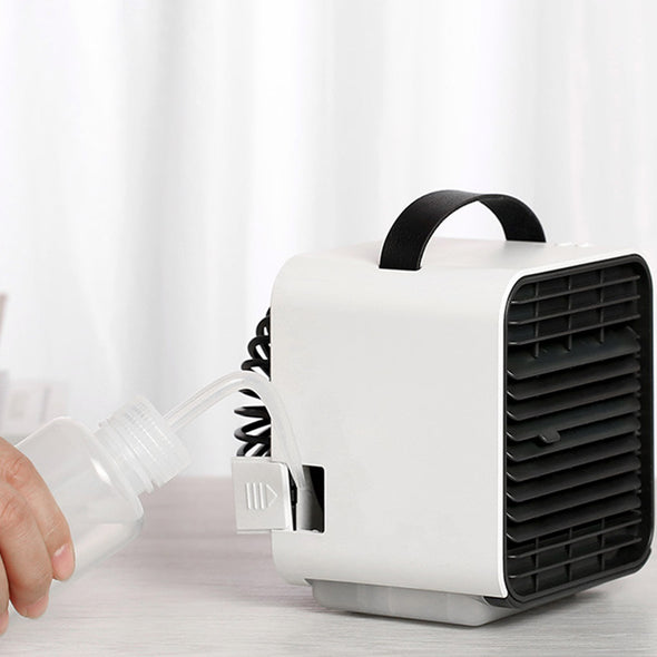 Mini Air Cooling Fan Portable Desktop USB Powered Rechargeable Negative Ion Mini Electric Fan, White