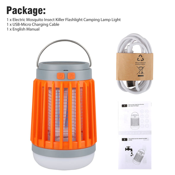 TSV Solar Mosquito Killer Light, Camping Lantern Flashlight Bug Zapper, Electric Insect Fly Killer, USB Rechargeable IP67 Waterproof Portable Mosquito Eliminator for Indoor Outdoor Garden Yard Use