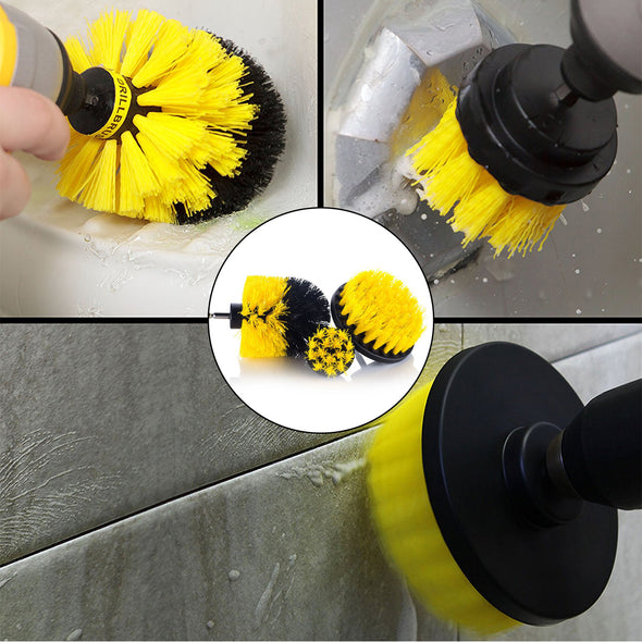 3Pcs Drill Brush Power Scrubber Cleaning Electric Drill Brush Tile Grout Tub Cleaner Combo Tool