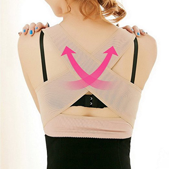Pixnor Women Back Posture Corrector Hunchback Relief Tool Brace Chest Comfortable Clothes-Szie L(Skin color)