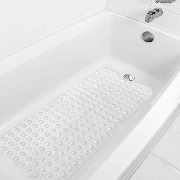 Popeven 2-Pack Bath, Shower, Tub Mat Clear (39x16) Non Slip, Mildew Resistant, Machine Washable, Antibacterial, BPA, Phthalate Free, Bathtub Mats,Drain Holes, Suction Cups, XL